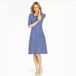 TALBOTS BLUE WHITE A LINE FLARED SWEATER DRESS PS